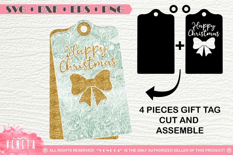 Happy Christmas | Bow | Gift tags | SVG, DXF Cutting File example image 1