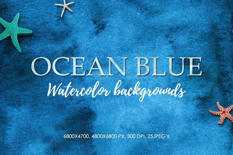 Watercolor Backgrounds - 25 Blue Textures, Digital Paper