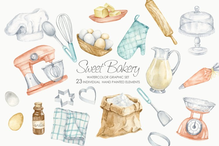 Watercolor Bakery Clipart. Baking supplies. Vintage Kitchen