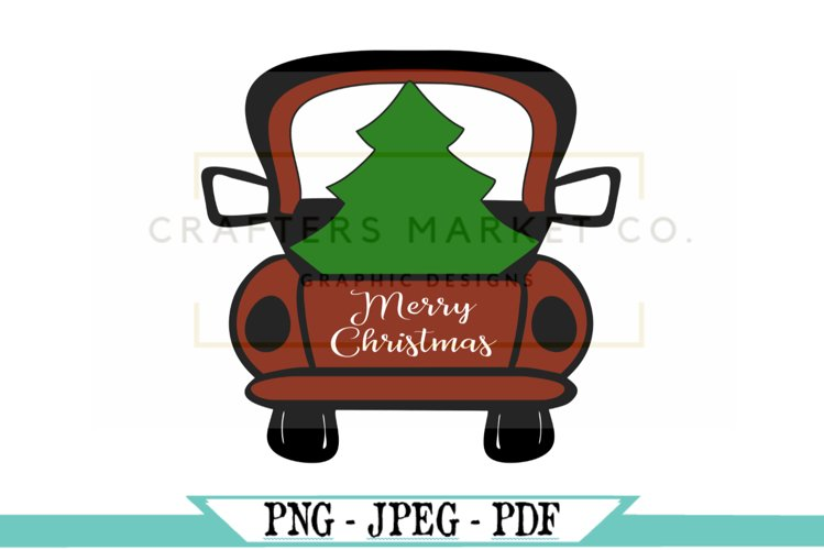 Farm Fresh Christmas Trees In Red Truck Design example image 1