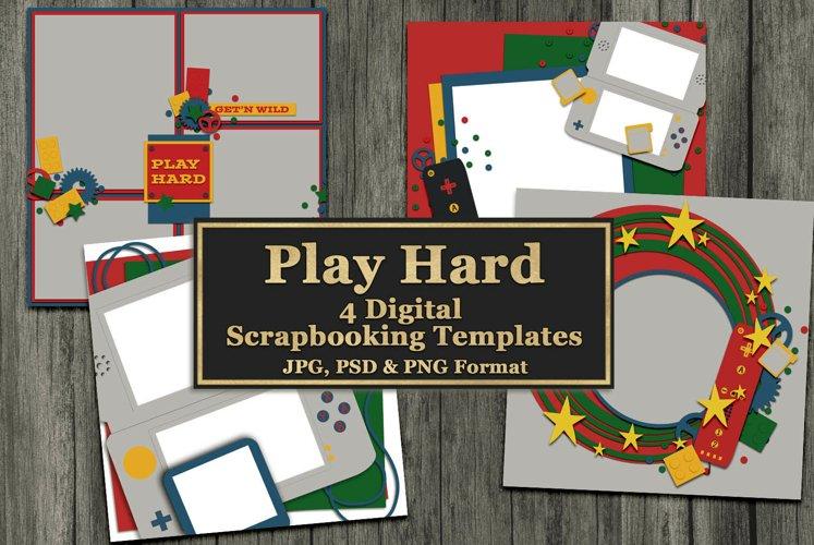 Play Hard Gaming Themed Digital Scrapbooking Templates example image 1