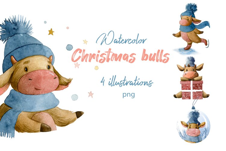 Christmas bulls illustration