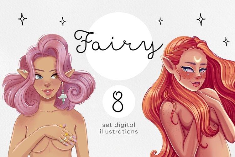 Fairy. Elfin. Magic girl. Digital girls illustrations.
