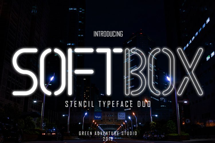 SOFTBOX - STENCIL TYPEFACE FONT DUO example image 1