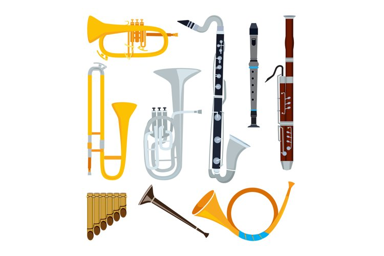 Isolated musical instruments in cartoon style example image 1
