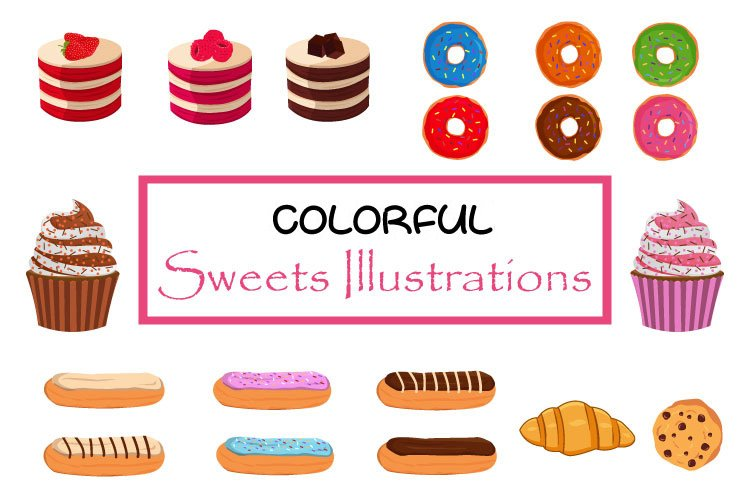 Colorful Sweets Illustrations Collection example image 1