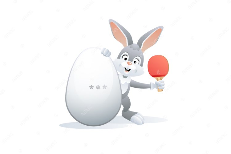 Easter sports greeting card. Cute Rabbit with Ping Pong Egg. example image 1