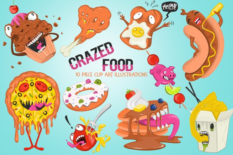 Funny Crazed Foods Illustrations example image 1