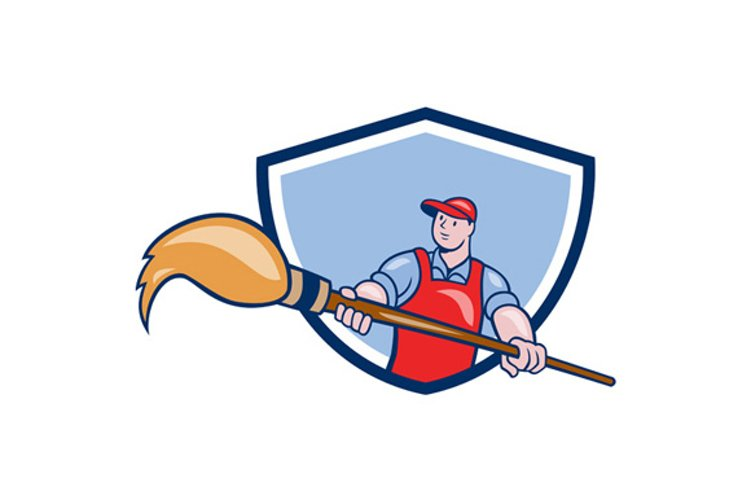 Artist Painter Giant Paintbrush Crest Cartoon example image 1