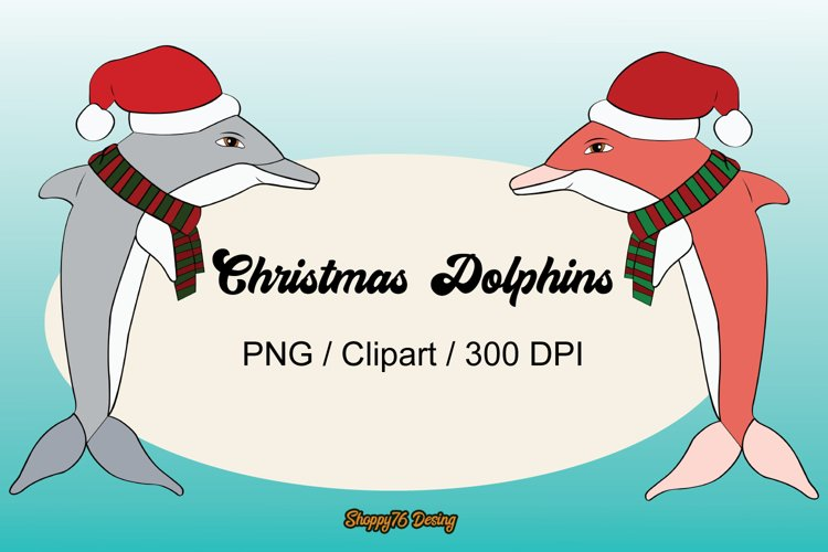 Pack Christmas Dolphins 24 cliparts / EPS example image 1