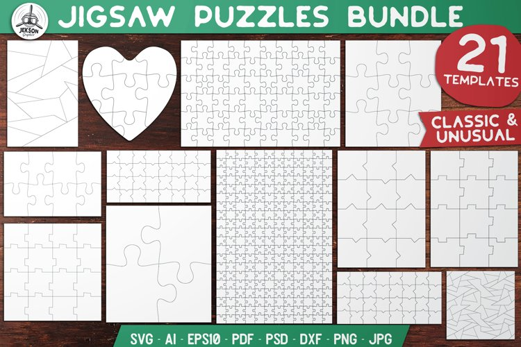 Puzzle Jigsaw SVG Templates Bundle - Classic, Heart, Unusual