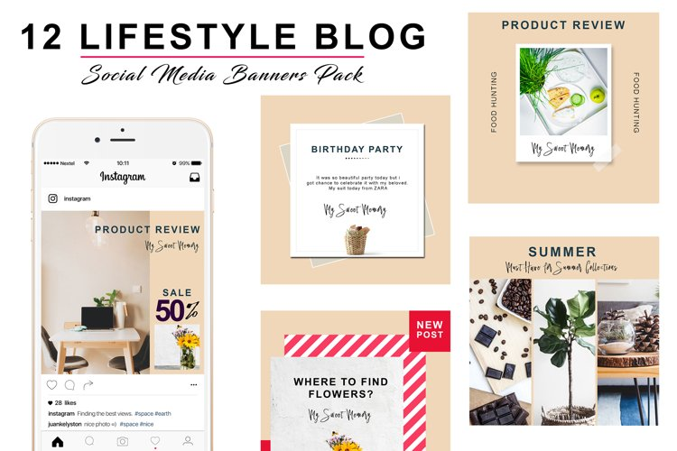 FREE  Peach Lifestyle Social Pack example 1