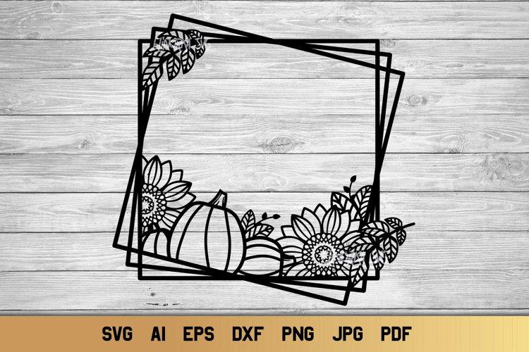 Fall SVG Monogram Frame   Sunflower SVG   Pumpkin SVG example image 1