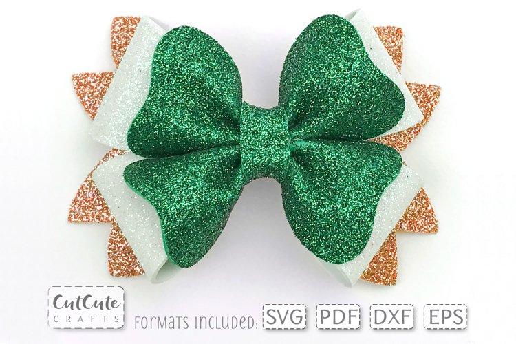 Bow SVG for St. Patricks Day, Shamrock Hair Bow cut file