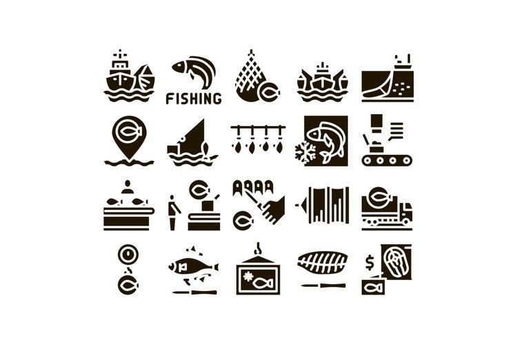 Fishing Industry Business Process Icons Set Vector example image 1