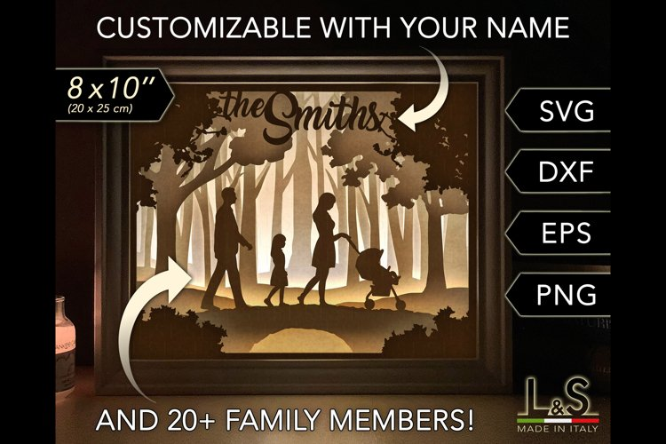 Customizable Family Shadow Box, 3D Paper Light Box Template example image 1
