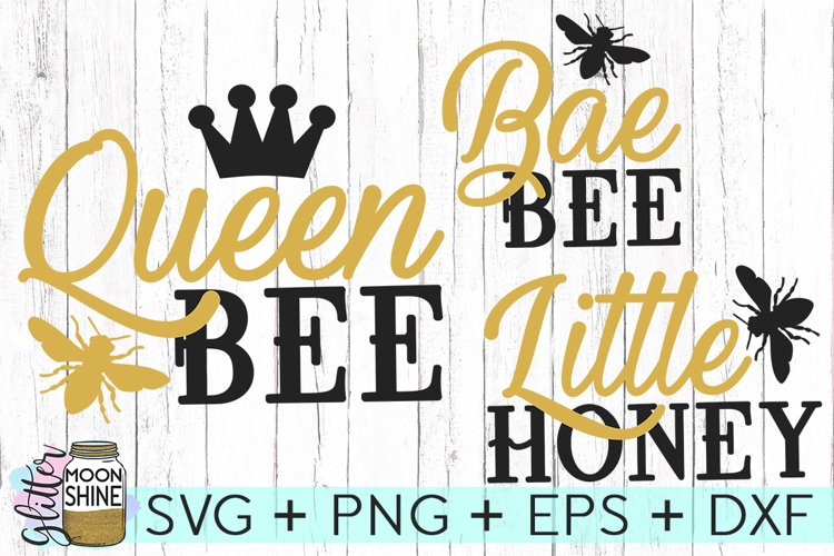 Queen Bee Matching Set of 3 SVG DXF PNG EPS Cutting Files example image 1