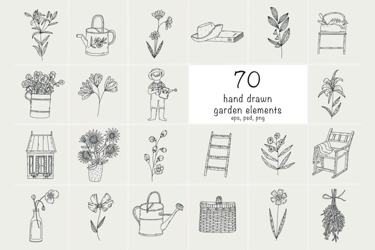 Hand Drawn gardening vector icons, cute vintage style