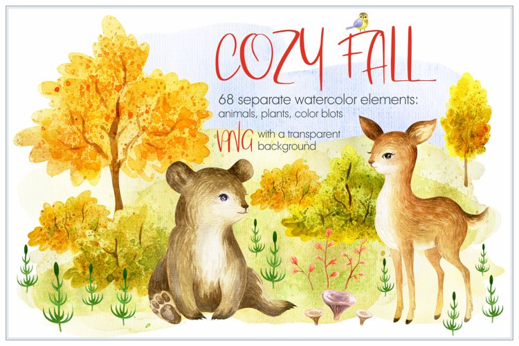 Cozy Fall. Watercolor animals and plants
