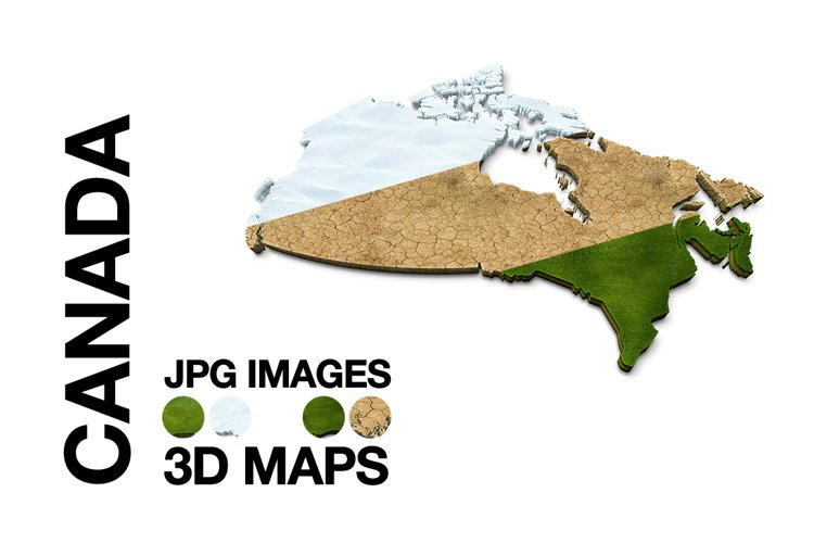 CANADA 3D Maps Images Dry Earth Snow Grass Terrain example image 1