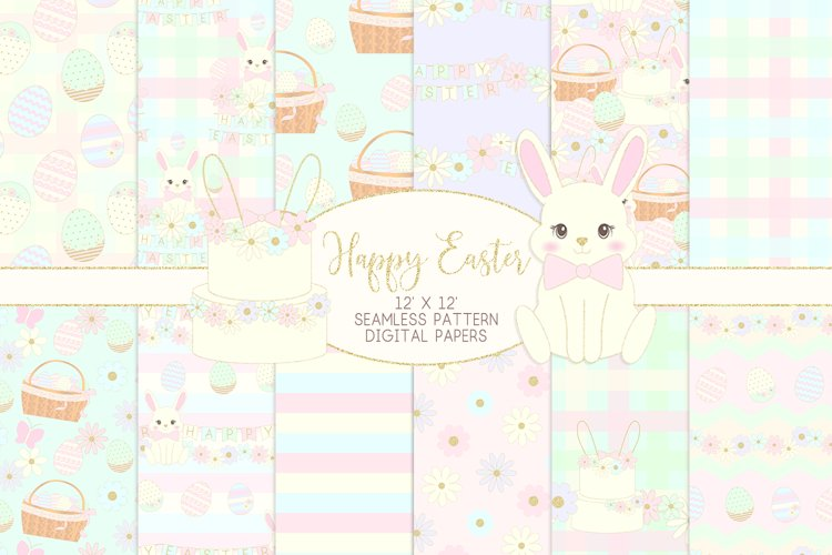 Easter Bunny Seamless Patterns Digital Papers