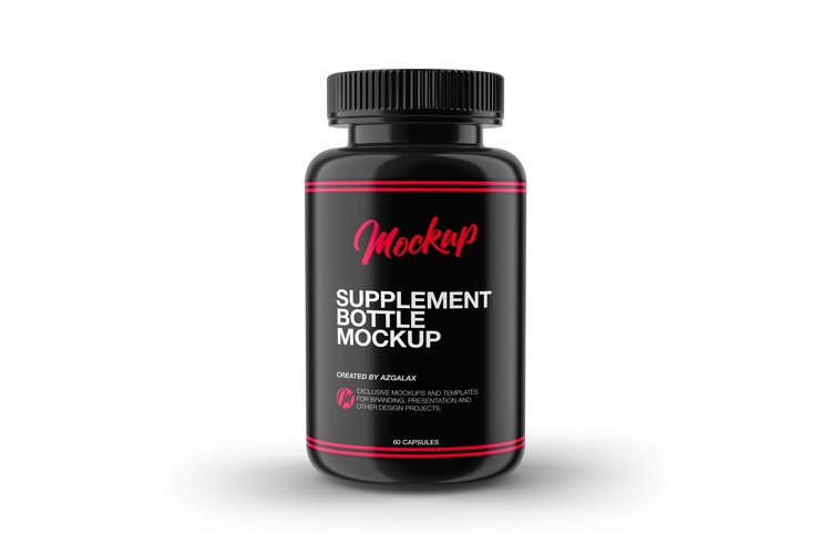 Supplement Bottle Mockup, Glossy Plastic Material example image 1