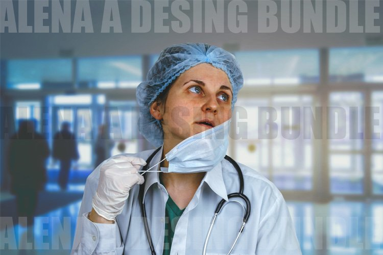 Tired Woman Doctor in Removing the Mask example image 1