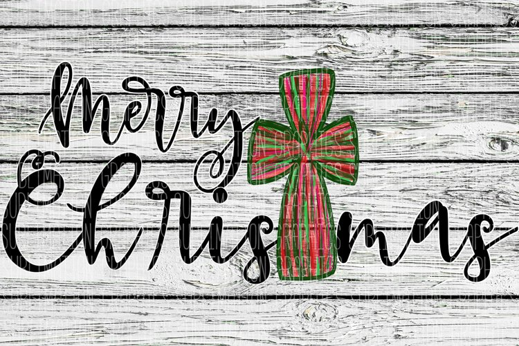 Merry Christmas Cross Sublimation Digital Download example image 1