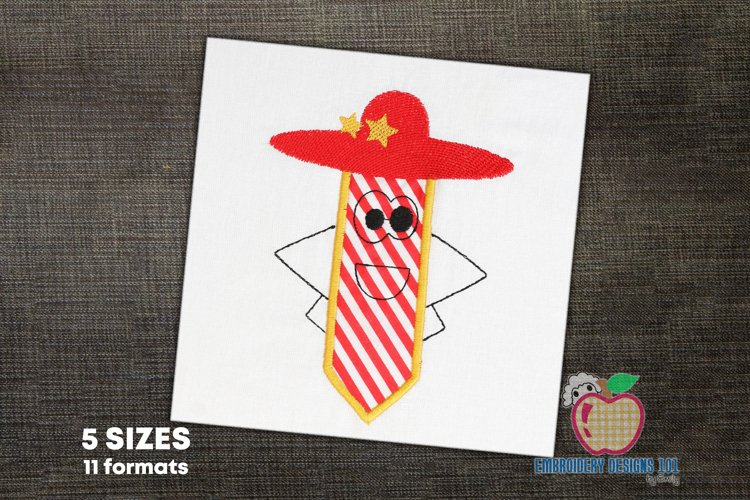 Pencil cartoon character wearing hat Applique for Kids example image 1