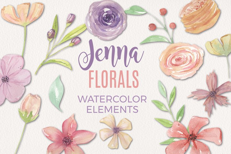 15 Floral Jenna Watercolors Flowers Painted Pink Elements example image 1