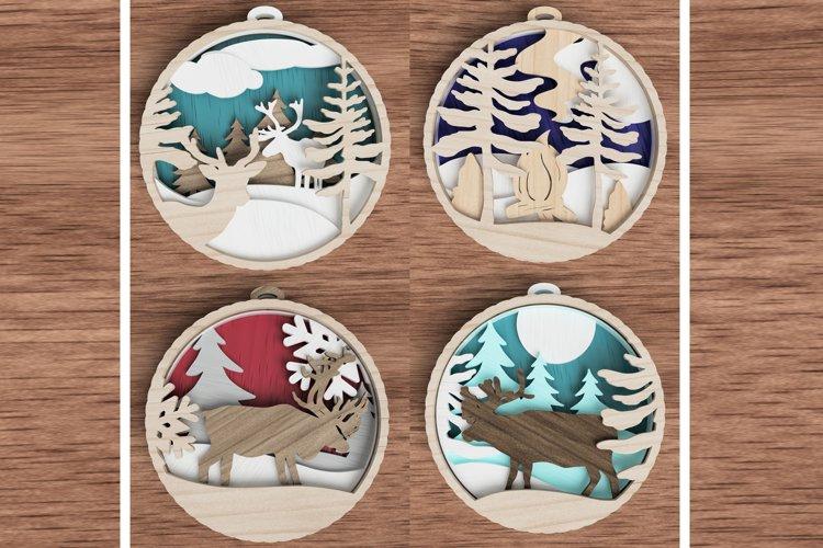 Christmas ornament laser cut file Bundle - deer in the woods example image 1