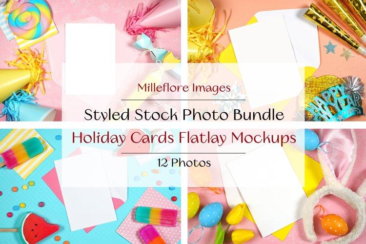 12 Cards Holiday Flatlay Mockups Styled Stock Photo Bundle
