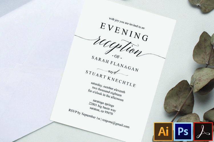 Printable Wedding Reception Invitation Template, Evening example image 1
