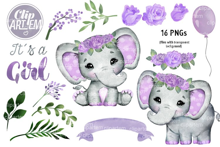 Floral Elephant with Purple roses Baby Shower set