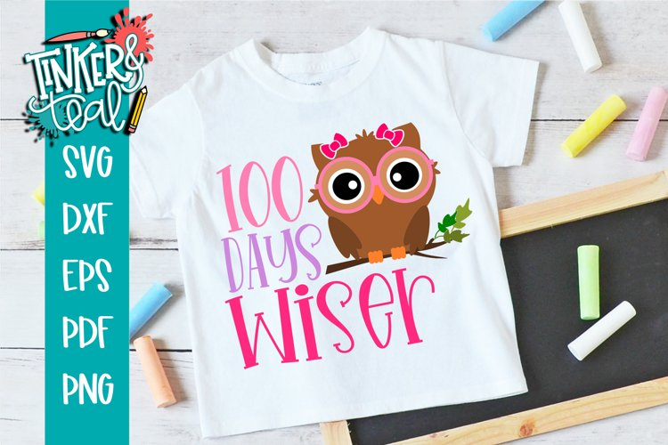 100 Days Wiser Girl Owl - School SVG example image 1