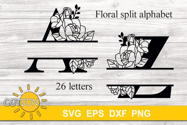 Floral Split Alphabet SVG 26 letters |Split Monogram SVG |2|