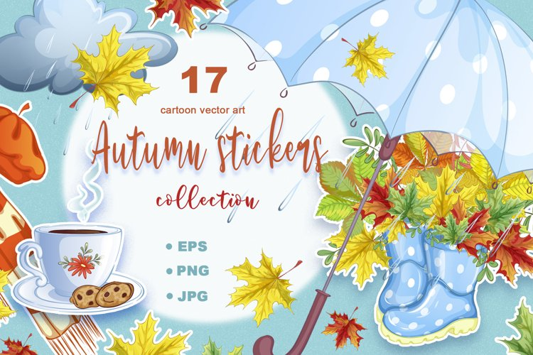 Autumn. Collection of vector stickers example image 1