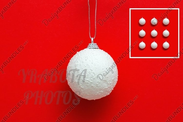 White Christmas ball on red, New Year greering card. example image 1