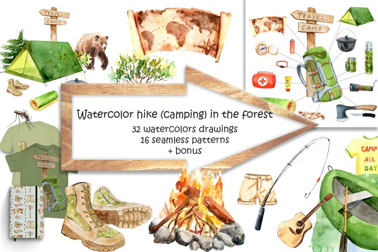 Watercolor hike in the forest camping example image 1