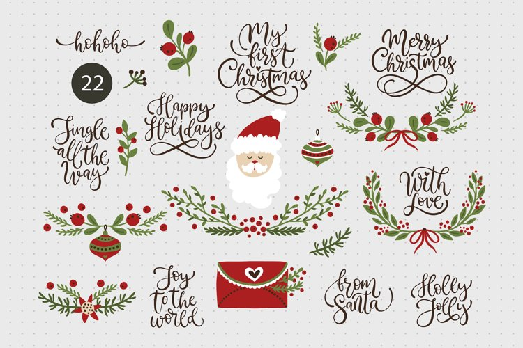 Christmas lettering & Christmas SVG set. example image 1