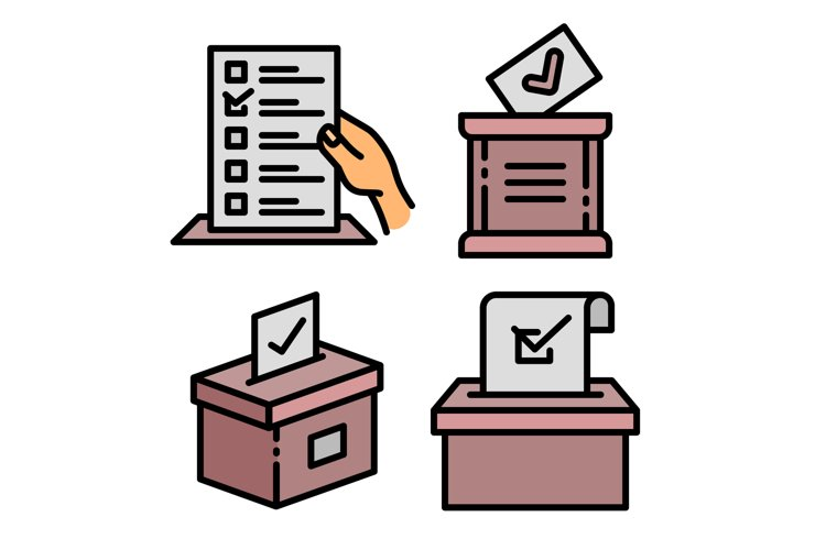 Ballot icons set, outline style example image 1