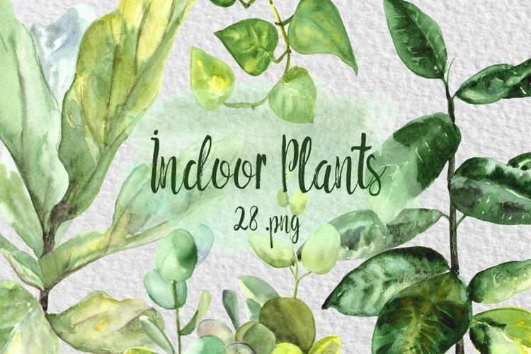 Watercolor Indoor Plants Clip Art Set example image 1