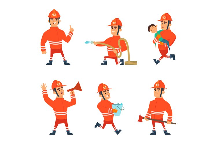 Cartoon characters of firefighters in action poses example image 1