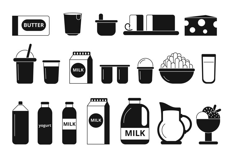 Silhouette and monochrome pictures of dairy milk products example image 1