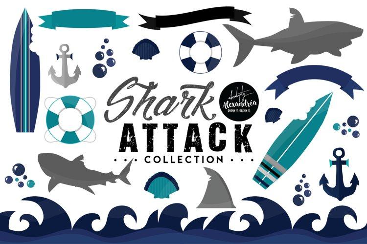 Shark Attack Clipart Graphics & Digital Paper Patterns Bundle