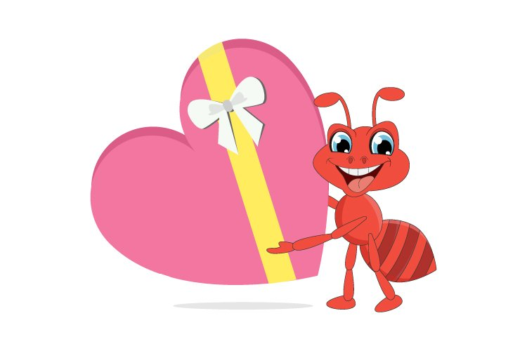 cute ant cartoon with love gift, simple vector illustration example image 1