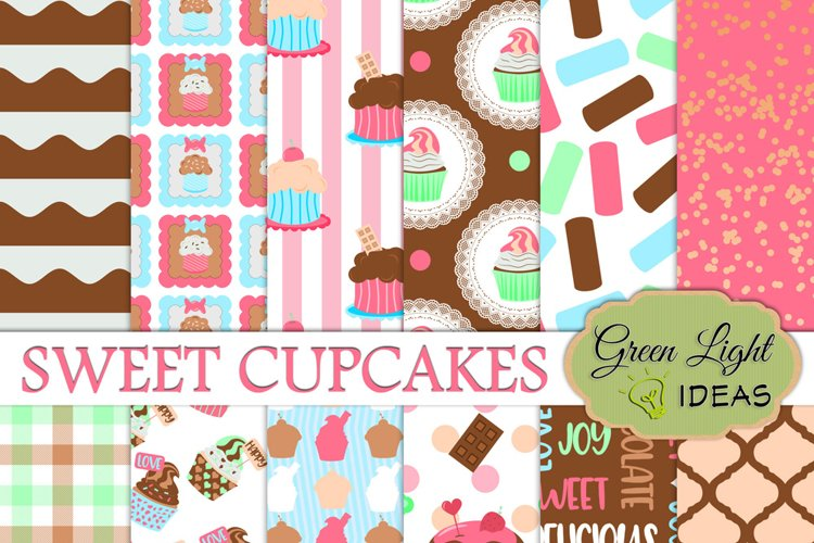Cupcakes Digital Papers, Cupcakes Backgrounds, Party Papers example image 1