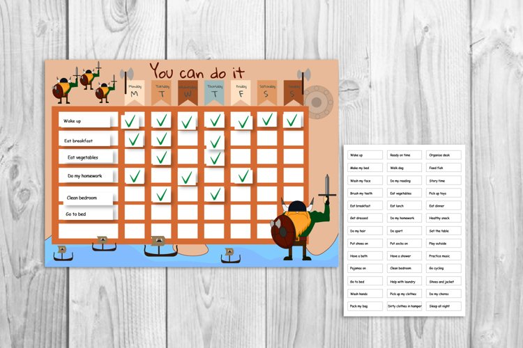 Kids reward chart, Viking graphic, Kids daily routine