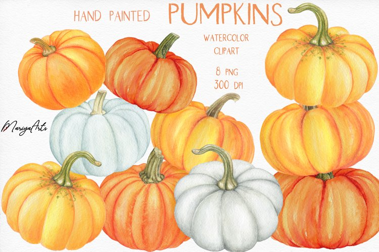 Pumpkins Clipart, Pumpkin Pyramid, Hand Painted Watercolor example image 1