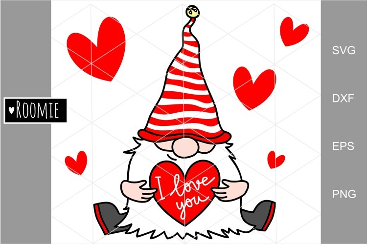 Valentine gnome with heart I love you svg, cutfile clipart